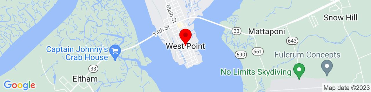 Google Map of 37.53153349999999, -76.7963504