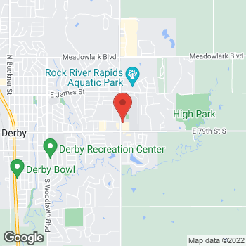 Map of Arby's at 640 N Rock Rd, Derby, KS 67037