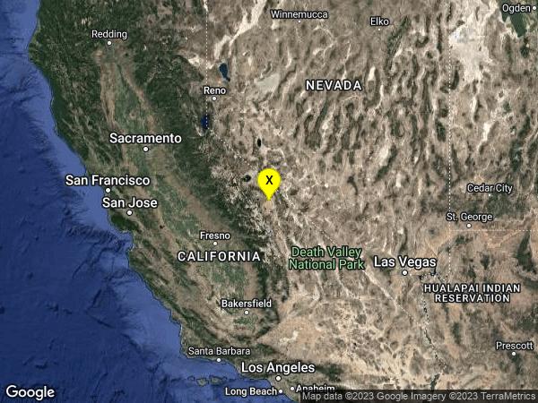 earthquake 18km E of Toms Place, CA