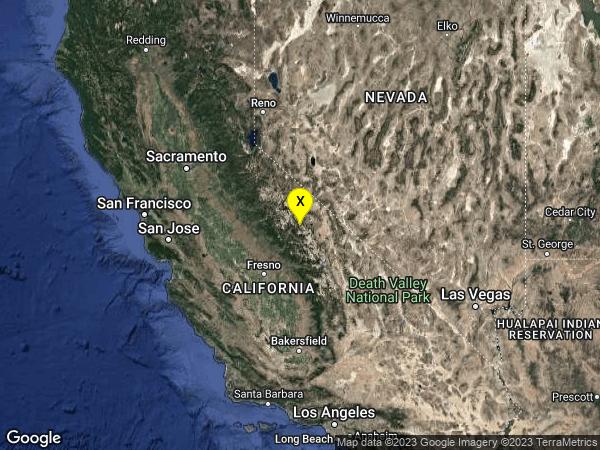 earthquake 6km SW of Mammoth Lakes, CA