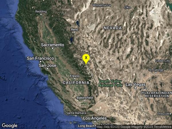 earthquake 6km SE of Mammoth Lakes, CA