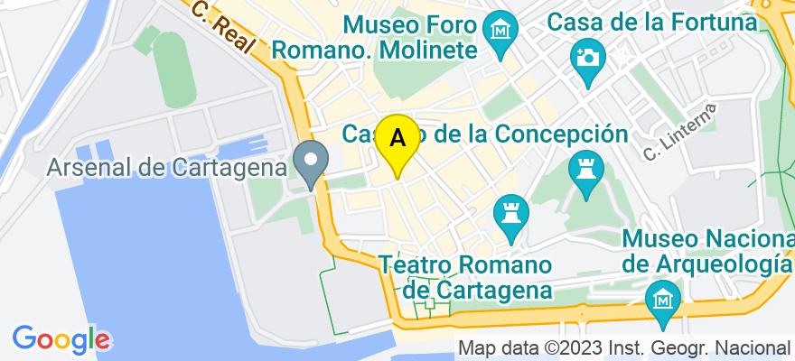 situacion en el mapa de . Direccion: COMEDIAS  2, 30201 Cartagena. Murcia
