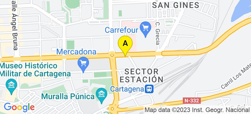 situacion en el mapa de . Direccion: Paseo Alfonso XIII, 38 1º (Edificio El Paseo), 30203 Cartagena. Murcia
