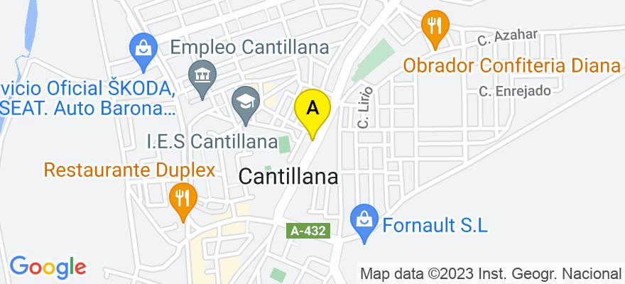 situacion en el mapa de . Direccion: Avenida Ntra. Sra. de la Soledad, 91-A-1º, 41320 Cantillana. Sevilla