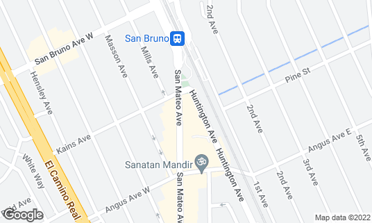 Map of Artichoke Joe's Casino at 659 Huntington Ave San Bruno, CA
