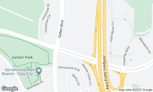 Map of Moonstar Restaurant at 383 Gellert Blvd Daly City, CA