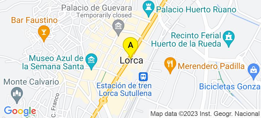situacion en el mapa de . Direccion: C/Poeta Carlos Mellado N- 5, 2-B, 30800 Lorca. Murcia