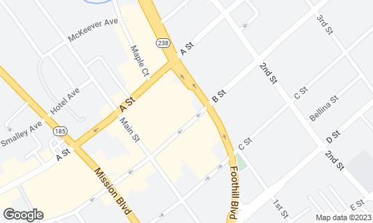 Map of Buffalo Bill's Brewery at 1082 B St Hayward, CA