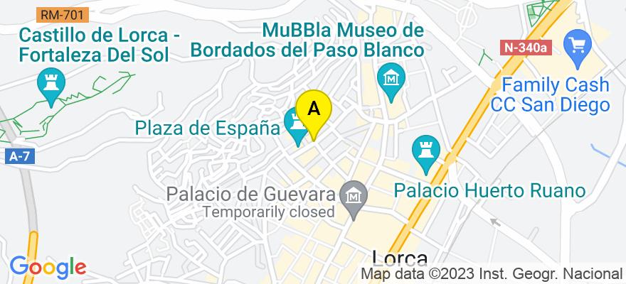 situacion en el mapa de . Direccion: Calle Santiago 3 - bajo, 30800 Lorca. Murcia