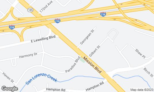 Map of Sushiland Japanese Restaurant at 19740 Mission Blvd Hayward, CA