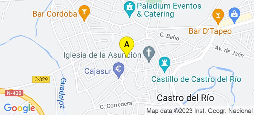 situacion en el mapa de . Direccion: calle Alta nº 26 1º, 14840 Castro del Río. Córdoba