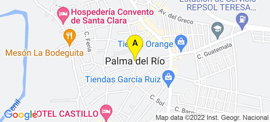 situacion en el mapa de . Direccion: C/ Nueva, 66 local, 14700 Palma del Río. Córdoba