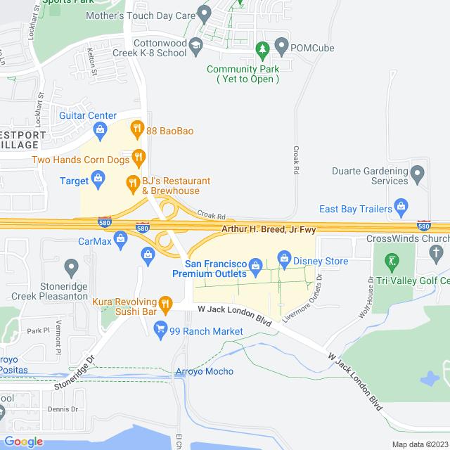 Map of Toll Road   I-580 Santa Rita Zone Express Lanes