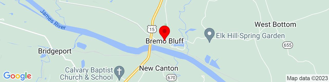 Google Map of 37.712366, -78.2975026