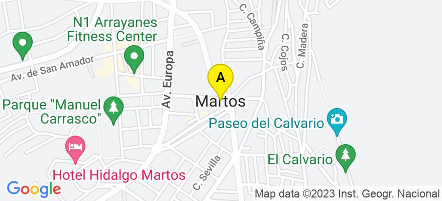 situacion en el mapa de . Direccion: C/ Lope de Vega, nº 7 bajo, 23600 Martos. Jaén