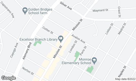 Map of Rocks Den at 4431 Mission St San Francisco, CA