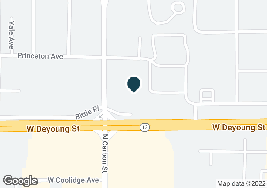 Google Map of1710 W DEYOUNG ST