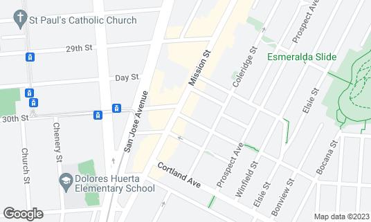 Map of Club Malibu at 3395 Mission St San Francisco, CA