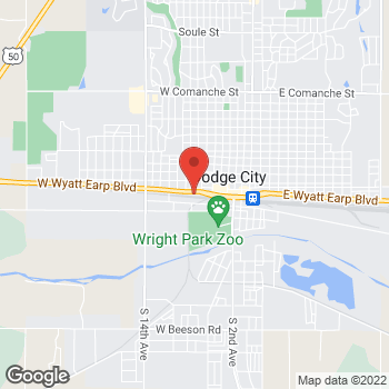 Map of Arby's at 805 W Wyatt Earp Blvd, Dodge City, KS 67801-4251