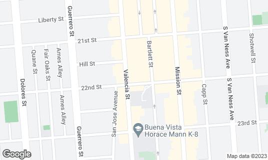 Map of Latin American Club at 3286 22nd St San Francisco, CA