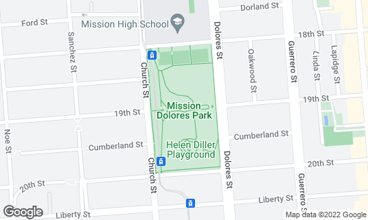 Map of Mission Dolores Park at 19th and Dolores St San Francisco, CA