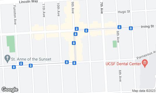 Map of Snowbird Coffee at 1352A 9th Ave San Francisco, CA