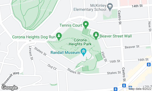 Map of Corona Heights Park at Roosevelt and Museum Way San Francisco, CA