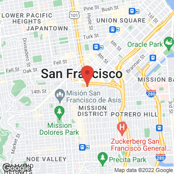 Map of Volvo Cars San Francisco at 285 S. Van Ness Ave., San Francisco, CA 94103
