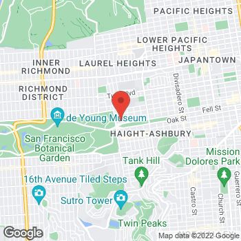 Map of Sister Mary Philippa Health Center at 2235 Hayes St, San Francisco, CA 94117