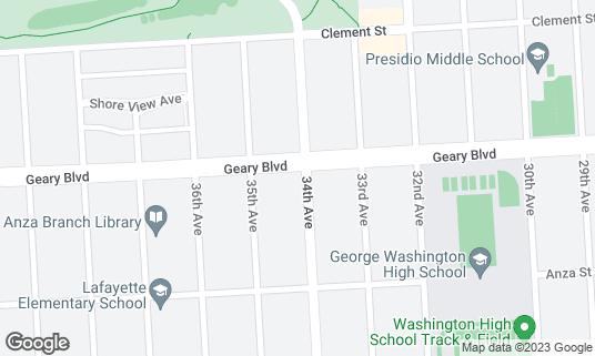 Map of Kufu-ya Japanese Restaurant at 7001 Geary Blvd San Francisco, CA
