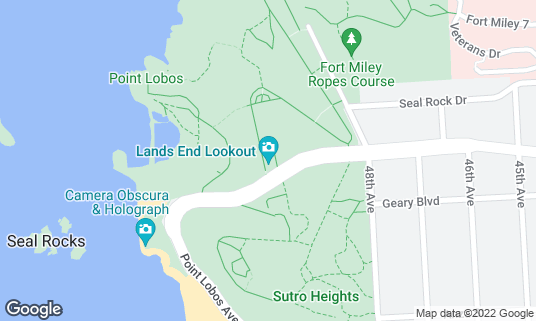 Map of Lands End Visitor Center at 680 Point Lobos Ave San Francisco, CA