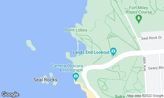 Map of Sutro Baths at 680 Point Lobos Ave San Francisco, CA