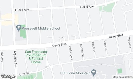 Map of Hong Kong Lounge II at 3300 Geary Blvd San Francisco, CA