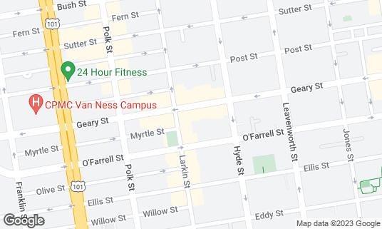 Map of Ha-Ra Club at 875 Geary St San Francisco, CA