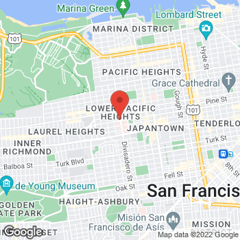 Map of Dignity Health-GoHealth Urgent Care Lower Pacific Heights at 1801 Divisadero St, San Francisco, CA 94115