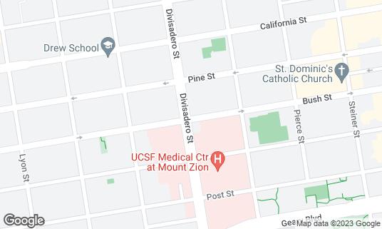 Map of Godzila Sushi at 1800 Divisadero St San Francisco, CA