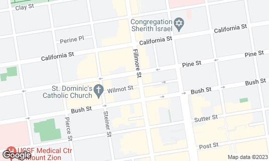 Map of Roam Artisan Burgers at 1923 Fillmore St San Francisco, CA