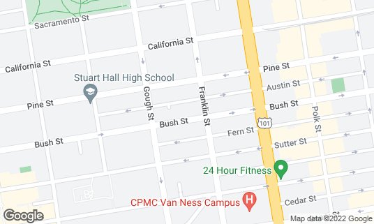 Map of Akira Japanese Restaurant at 1634 Bush St San Francisco, CA
