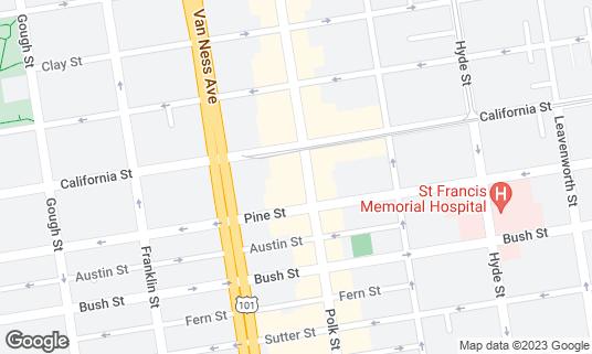 Map of Bamboo Restaurant at 1441 Polk St San Francisco, CA