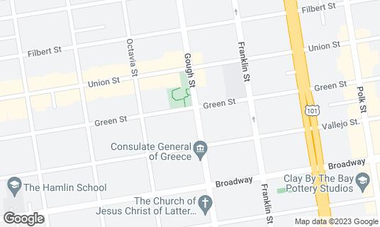 Map of Blue Fog Market at 2567 Gough St San Francisco, CA