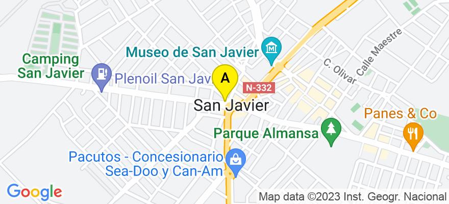 situacion en el mapa de . Direccion: Avenida de Balsicas 2, 1º, 30730 San Javier. Murcia
