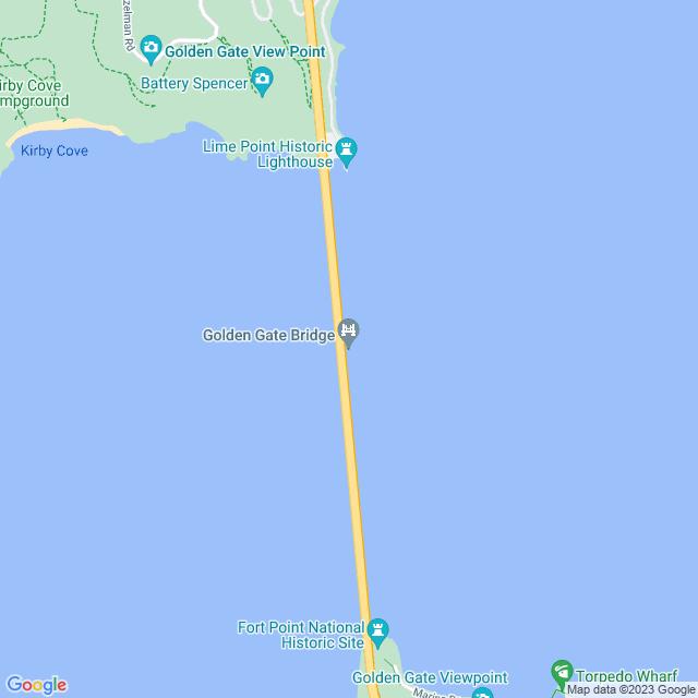 Map of Golden Gate Bridge Toll