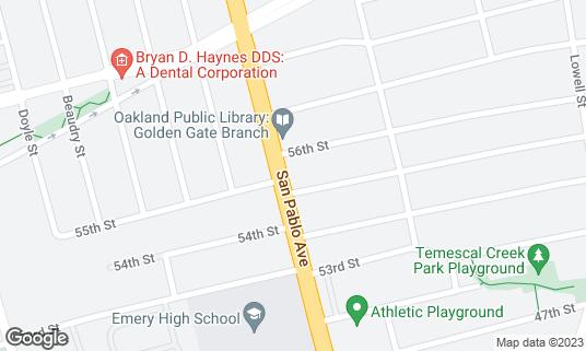 Map of Wolfhound Bar at 5516 San Pablo Ave Oakland, CA