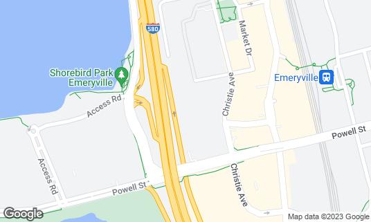 Map of Allegro Ballroom at 5855 Christie Ave Emeryville, CA