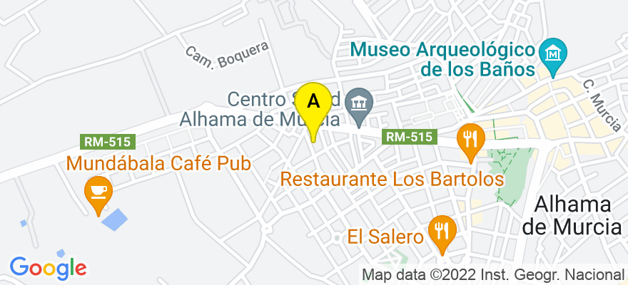 situacion en el mapa de . Direccion: Calle Menéndez Pelayo nº 16, 30840 Alhama de Murcia. Murcia
