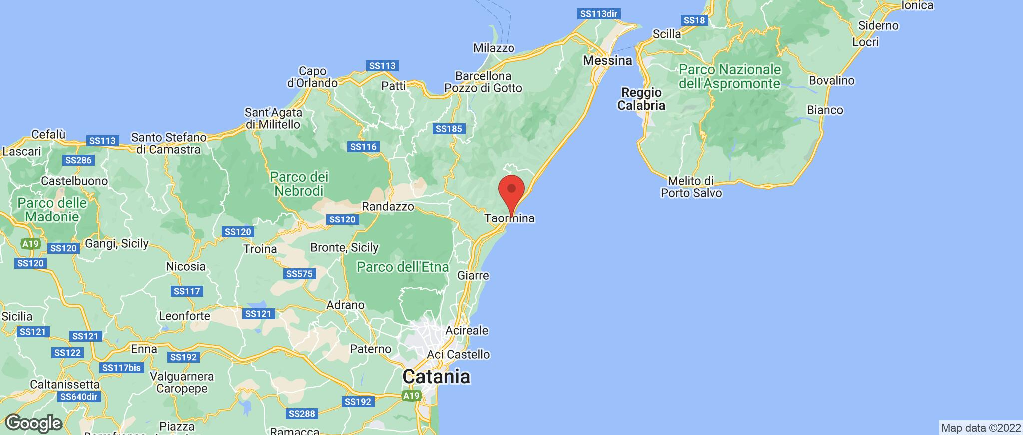 Map showing the location of Taormina