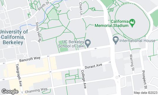 Map of Class of 1914 Fountain at Bancroft Way Berkeley, CA