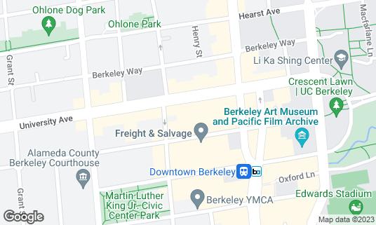 Map of UC Theatre at 2036 University Ave Berkeley, CA