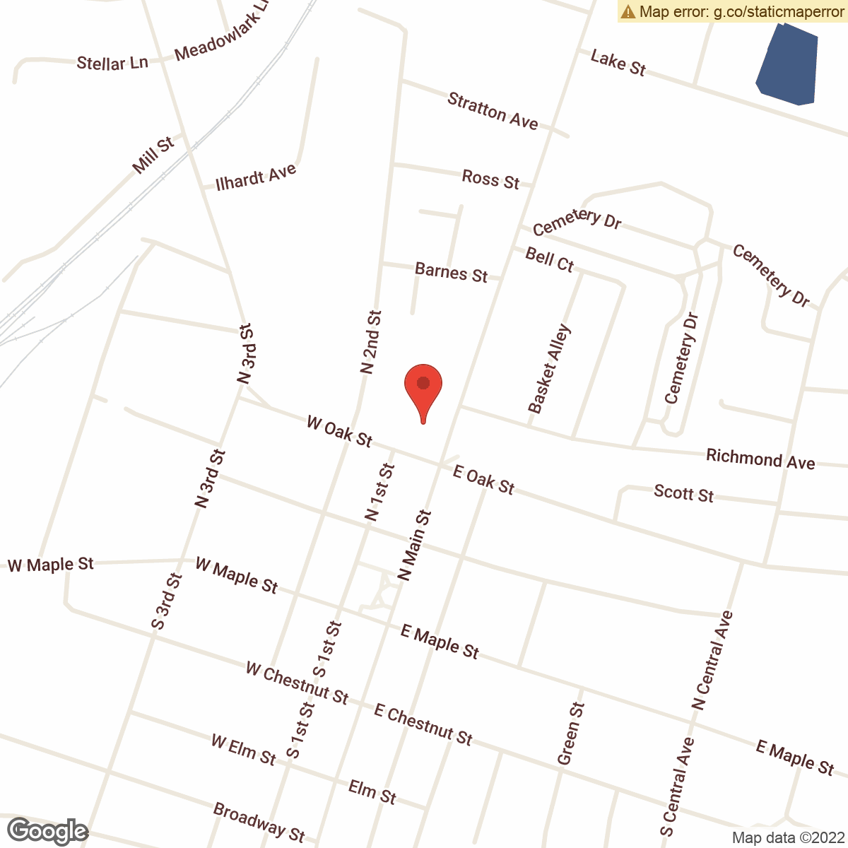 map to Central Bank ATM – Downtown Nicholasville