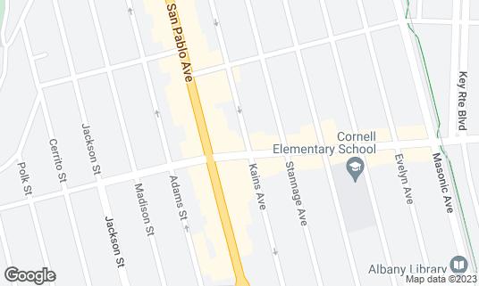 Map of Albany Twin Movie Theater at 1115 Solano Ave Albany, CA